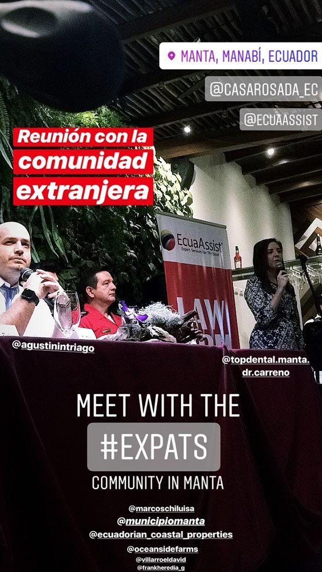 Alcalde Agustin Intriago se reúne con la comunidad de expatriados (EXPATS) residentes de Manta y alrededores